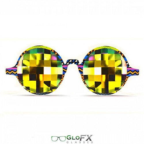 GloFX Tribal Kaleidoskop-Brille - Rainbow Bug Eye – Kaleidoskop-Diffraktion-Effekt, mit flachem Rückglas - GloFX Tribal Kaleidoscope Glasses - Rainbow Bug Eye - Flat Back Kaleidoscopic Diffraction (Brille Bug)