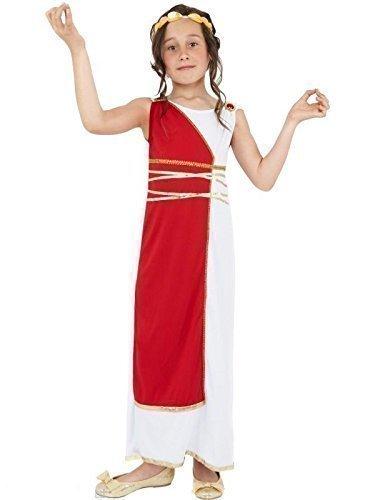 Kinder/Mädchen Kostüm - Griechisch/Römische Toga Kostüm - Weiß/Rot, 10-12 Jahre (Römische Mädchen Kleid)