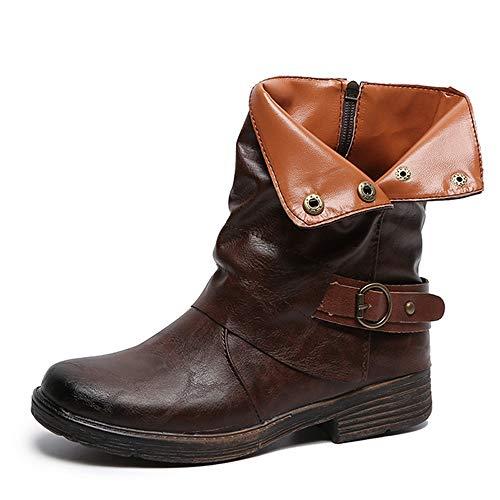 Yvelands Damenstiefel Stiefeletten Damen Herbst Winter Aushöhlen Stiefeletten Damen Heel Halb Stiefel Schuhe Casual Boots Freizeit -