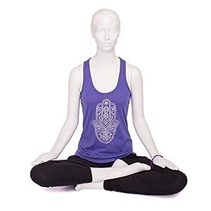 "Bodhi Yoga Tank Top für Damen,""HAMSA"" Gold-Print, 100% Bio-Baumwolle, lila"