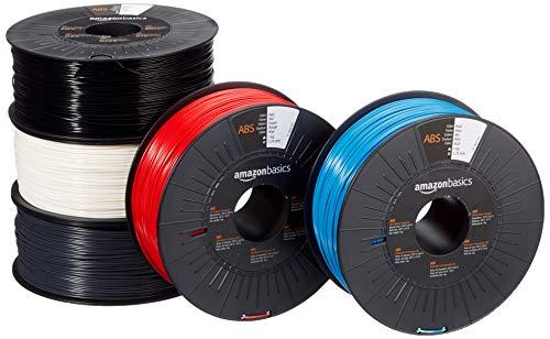 AmazonBasics - Filamento para impresora 3D, plástico ABS, 1,75 mm, 5 cintas de 1 kg cada una, 5 colores diferentes