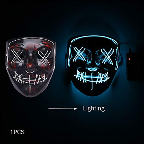Kids Dark Kostüm Vampir - WSJDE Halloween Horror Maske Led Maske Glow In The Dark Kostüm Kids Spooky Karneval Maske Kostüm Party Dekoration Glowing Demon Evil   weiß