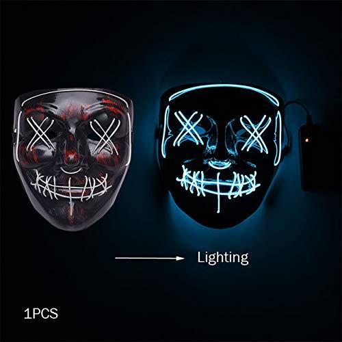 WSJDE Halloween Horror Maske Led Maske Glow In The Dark Kostüm Kids Spooky Karneval Maske Kostüm Party Dekoration Glowing Demon - Spooky Kids Kostüm