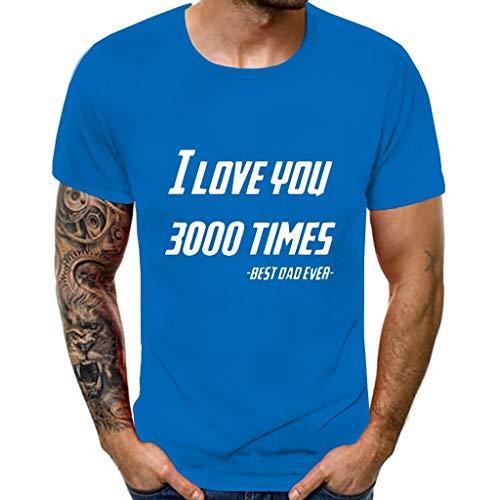 Xmiral tee, maglietta uomo top in camicetta comoda con stampa a maniche corte stampata 3d stile nuovo da uomo i love you 3000 times l 1- blue
