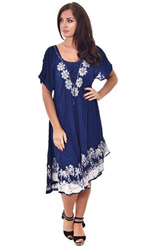 Nightingale Collection Damen Kleid One size Blau/Weiß