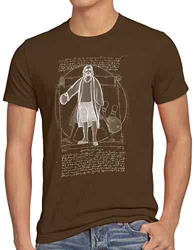 style3 Vitruvianischer Dude Herren T-Shirt Lebowski Bowling Bowler Big, Größe:XL, Farbe:Braun -