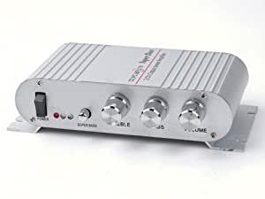 tinxi® Mini Hi-Fi HiFi Stereo Audio Verstärker Amplifier für Auto Motor CD DVD Silber