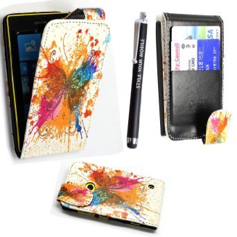 NOKIA LUMIA 520 CARD POCKET PU LEATHER BOOK FLIP CASE COVER POUCH + FREE STYLUS (New Multi Butterfly) (520 Nokia Silicon Case)