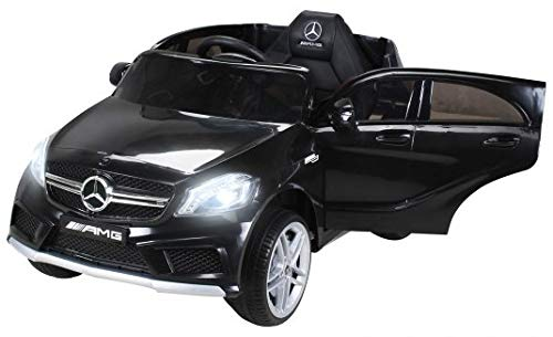Actionbikes Motors Kinder Elektroauto Mercedes Benz AMG A45 Original Lizenziert - 2 x 35 Watt Motor Kinderauto Kinderfahrzeug Elektro Auto Spielzeug Für Kinder (Schwarz)