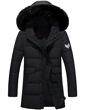 MHGAO Invierno Nuevo estilo de lana larga Padded Collar Capa Caliente , black , xl