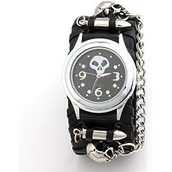 YESURPRISE® Black Leather Steel Fashion Punk Rock Unisex Quartz Wrist watch Cuff