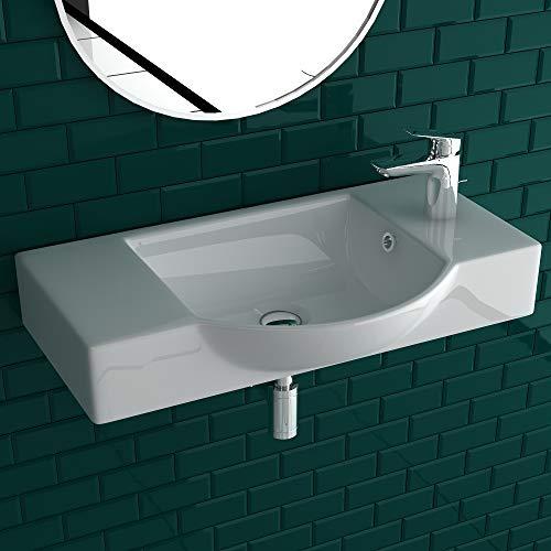 Alpenberger Handwaschbecken | Schick im Miniformat | Waschbecken zur Wandmontage aus hochwertiger Keramik| Möbelwaschtisch & Handwaschbecken für Gäste-WC (55 x 32 cm)