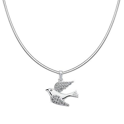 Vinani Anhänger Vogel mit weißen Zirkonia elegant glänzend mit Schlangenkette 45 cm Sterling Silber 925 Kette Italien Taube Bird 2AVO-S45