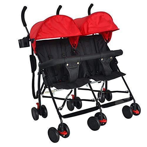 Carrozzine dzwsd ultra-leggero passeggino gemellare compatto, fianco a fianco design pieghevole autoportante, baldacchino oversize con braccioli 2 portabicchieri