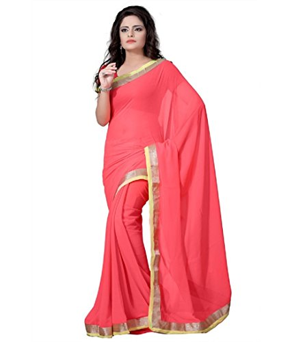 RockChin Fashions Pink Semi Chiffon Border Work Saree.  available at amazon for Rs.175