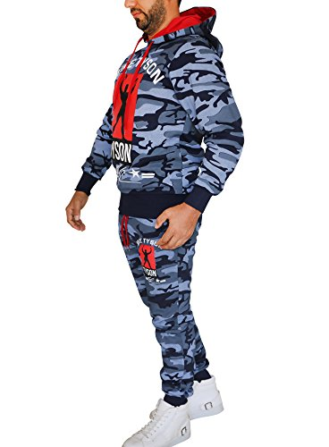 Herren Trainings-Anzug / Mike Tyson Box-Champion / Jogging-Hose + Pullover-Kapuze / SLIM-FIT / 2 - Camouflage - Navy (Tyson Mike Kostüme)