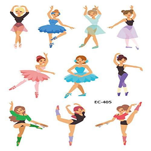 zgmtj Kreativer niedlicher Ballett-Tätowierungsaufkleber 5 120 * 75mm des kleinen Mädchens der Karikatur -