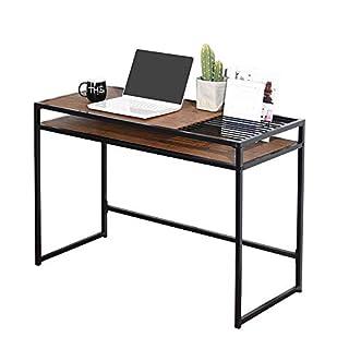 Aingoo Industrial Schreibtisch Home Office Bürotisch Computertisch mit Buchdokumenten Dateisteckplatz Studienschreibtisch PC Laptop Tisch Arbeitstisch Workstation Brown