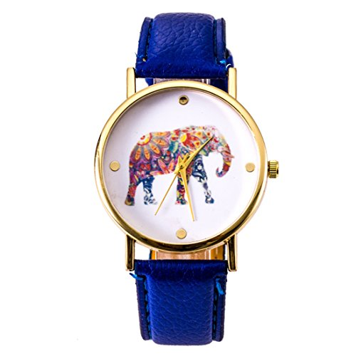 Fashion relojes cinturón ordinario relojes reloj elefante impresión ginebra relojes azul eléctrico