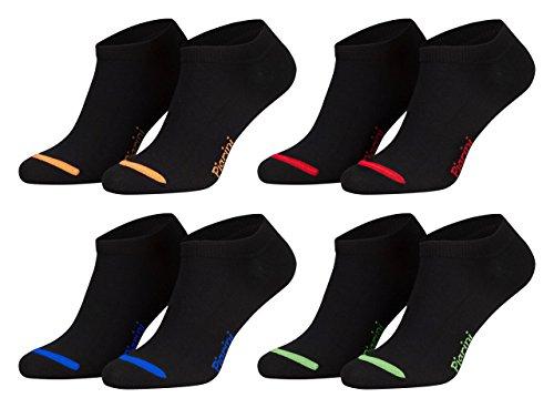 43-46/8 Paar Piarini 8 Paar Sneaker Socken Sportsocken Baumwolle | Ohne Naht | Kurze Unisex Damen Herren schwarz-neonfarbige Spitzeneonfarbige Spitze (Herren-socken Low Cut)