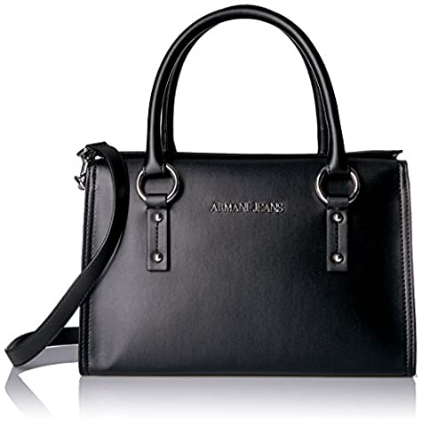 Armani Jeans Italia Square Boston Bag, Black