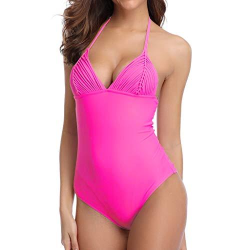 HULKY Damen Arbeiten Reizvollen Einteiler Monokini Schlankheits Badeanzug Raffung V-Ausschnitt High Neck Bikini Bademode Strandmode(Rosa,M)