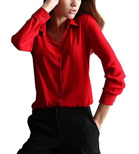 LaoZan Beiläufig Damen Chiffon Langärmeligen Knopf Hemd Bluse Tops Shirts Rot