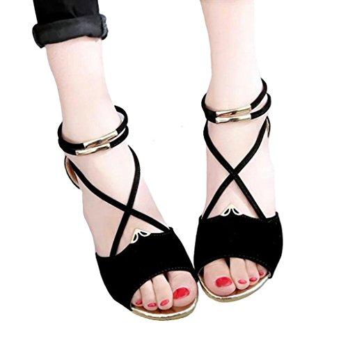 DM&Y 2017 pente douce avec des sandales romaines perles sauvages boh¨¨me Black