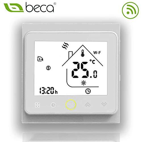 BECA 002 Serie 3 / 16A LCD-Touchscreen-Wasser- / Elektro- / Boiler-Heizung Intelligente Programmiersteuerung mit WIFI-Anschluss (Elektroheizung, Volles Weiß)