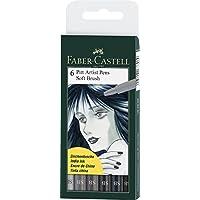 Faber-Castell-Set 6 penne Pitt Artist, con setole morbide, colore: sfumature di grigio - Faber Castell Pitt Artist Brush
