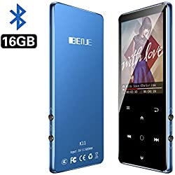 MP3 BENJIE 16GB Reproductor de MP3, MP3 Bluetooth HiFi sin pérdida de Sonido, FM Radio, Grabadora de Voz con Auriculares, Reproductor de Video Botón Táctil Altavoz de Música, Admite hasta 128 GB
