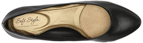 Soft Style by Hush Puppies Women's Darlene Wedge Pump, Mid Brown Leather, 10 M US Black Leather