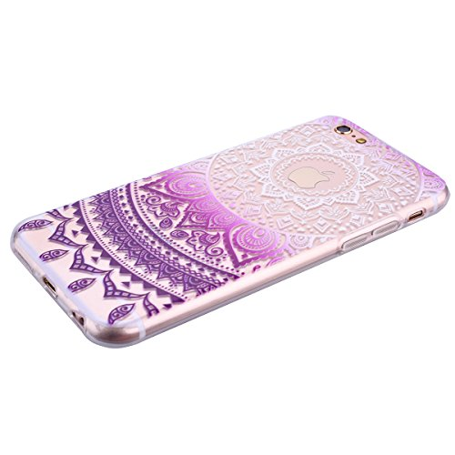 "Für Apple iPhone 6 / 6s Plus 5.5 Zoll"", Crystal Case Hülle aus TPU Silikon mit Indische Sonne Design Schutzhülle Cover klar Transparent hülle Skin Schutz Schale Protective Cover Rosa Lila"