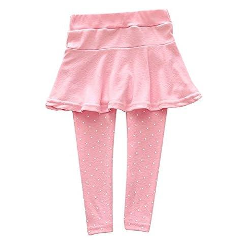 ROPALIA Bébé Fille Legging Jupe Pantalon Jupe Jambieres Enfant en laine 1-7 ans (120, Rose )