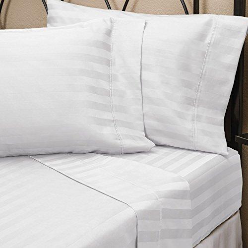Pure 100% ägyptische Baumwolle King Spannbetttuch weiß mit Satin-Streifen, Fadenzahl 250, Hotel Qualität (160 x 200 x 23 cm) - 100% Ägyptische Baumwolle Streifen