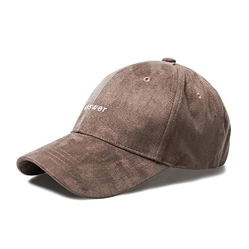 Loe Wildleder Herbst Winter Baseball Cap Herren warme gepolsterte Mütze einstellbar Outdoor Damen lässig Hut Stickerei Brief 4 Farbe optional (Color : Brown) -