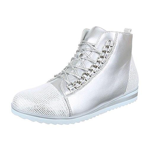 High-Top Sneaker Damen Schuhe High-Top Sneakers Reißverschluss Ital-Design Freizeitschuhe Silber
