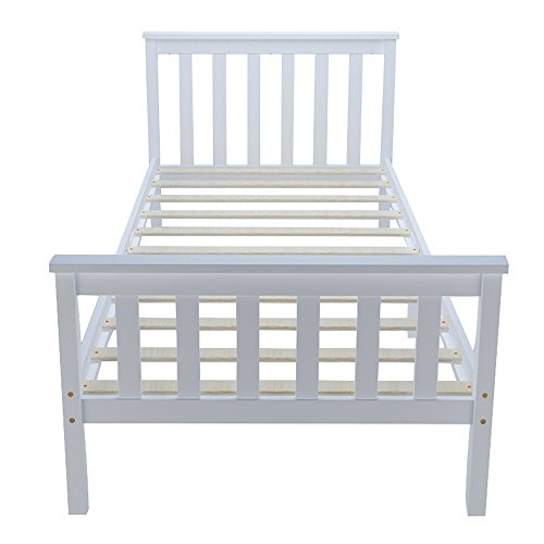 Pandamoto Single Bed Solid Wooden Pine Bed 3ft Wooden Frame In White (Single bed001)