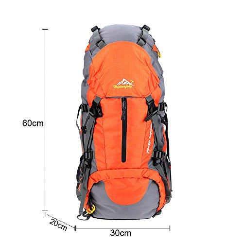 Lixada 50L Trekkingrucksack Wanderrucksack Reiserucksack Rucksack Mit Regenabdeckung Für Outdoor Orange - orange