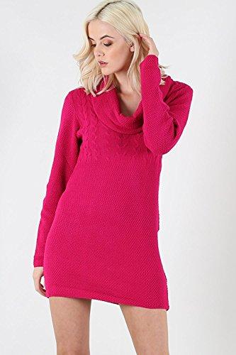 Be Jealous femmes crayon moulant surdimensionné hiver GAUFRé Pull tricot femmes col bénitier Mini robe haut Cerise