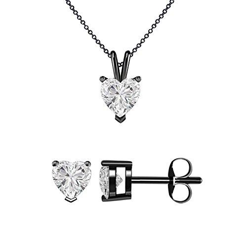 gemsandjewels Love Herz Form 2,00ct weiß Simuliert Diamant Solitaire Anhänger mit 45,7cm Kette und passende Ohrringe Schmuck Set in 14K vergoldet schwarz 925Sterling Silber (14k Weiß-diamant-ohrringe)