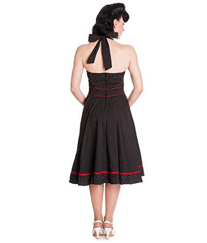Tiger Milly - Robes Noire à Pois Style Années 50 Schwarz - Schwarz