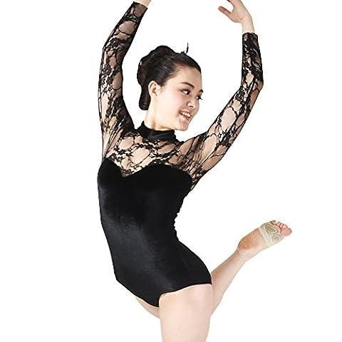 MiDee Dance Leotard Gymnastics Costume Lace Velvet Long Sleeves (SA, Black)