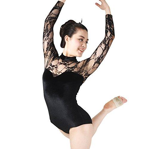 MiDee Süße Spitzen Lange Hülsen Samt Tanzen-Trikot Ballett Kostüm (Schwarz, IC) (Zeitgenössischer Tanz Kostüme Schwarz)