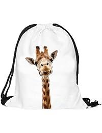 Sannysis Mochilas tipo casual, bolsos con cordón Impresión animal 3D (09)
