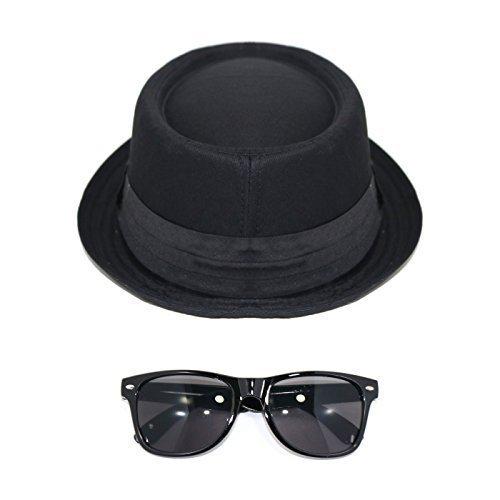 Herren Pork Pie Hut mit Durchsichtig Brillen oder Sonnenbrille - Dark Brille, (Brille Heisenberg)