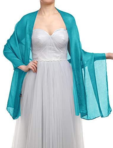 GardenWed Damen Glitzerschal Scarves Stola 70 * 180CM Sommer Tuch Stolen für Kleider in 22 Farben Peacock Blue -