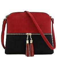 "Hotsell〔ㄥ〕Women Vintage PU Leather Shoulder Bags Shell Bag Handbag Contrast Tassel Crossbody Bag 9.84(L) x0.78(W) x9.05(H)""inch"""