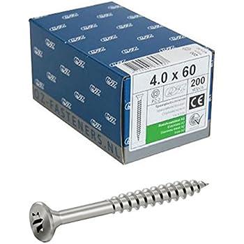 Acier inoxydable Vis /à agglom/ér/é 5,0/x 60/mm TX25/Lot de 100/vis Vis /à bois t/ête frais/ée VA V2/A Torx filetage partiel