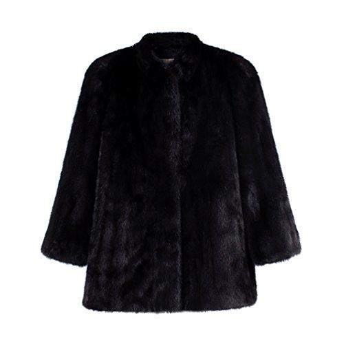 Yuandian donna autunno e inverno casuale colore solido giacca in pelliccia sintetica maniche lunghe morbido caldo giubbotto in pellicce ecologica faux pelo cappotto nero s